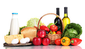 Pictures Still-life Milk Wine Bread Cheese Apples Bell pepper Vegetables Tomatoes Cabbage White background Bottles Wicker basket Egg Food