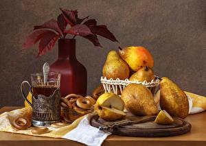 Wallpapers Still-life Tea Pears Vase Leaf Highball glass Food