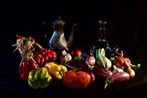 Pictures Still-life Vegetables Bell pepper Tomatoes Black background Pitcher Bottle Food