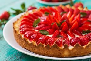 Fotos Erdbeeren Obstkuchen Lebensmittel