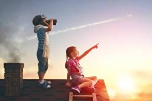 Fotos Sonnenaufgänge und Sonnenuntergänge 2 Junge Kleine Mädchen Mütze Dach Schal Kinder