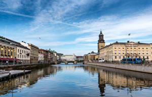 Picture Sweden Houses River Bridges Gothenburg Cities