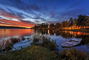 Fotos Schweden Flusse Sonnenaufgänge und Sonnenuntergänge Boot Bäume Natur