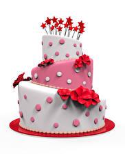 Fotos Süßigkeiten Torte Weißer hintergrund Design Stern-Dekoration 3D-Grafik