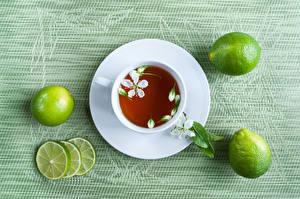 Hintergrundbilder Tee Limette Farbigen hintergrund Tasse Untertasse Lebensmittel