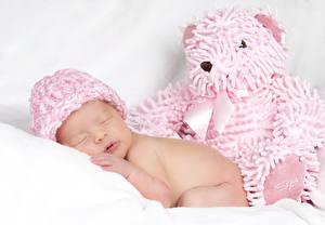 Hintergrundbilder Teddybär Baby Schlafendes Mütze Kinder