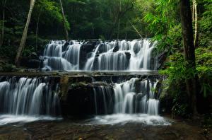 Sfondi desktop Thailandia Parchi Cascate Foresta Il dirupo Sam lan waterfall Natura