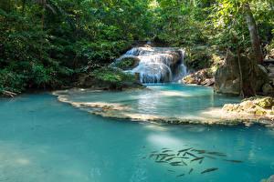Sfondi desktop Thailandia Tropici Parchi Cascata Erawan Falls Kanchanaburi Natura