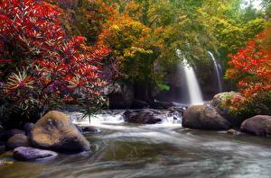 Sfondi desktop Thailandia Tropici Parco Cascate Pietre Autunno Heo Suwat Waterfall Khao Yai National Park Natura