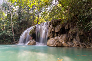 Sfondi desktop Thailandia Tropici Cascata Falesia Rami Erawan Falls Kanchanaburi Natura