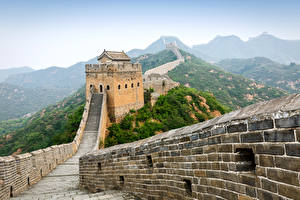 Fotos China Chinesische Mauer Gebirge Zaun Natur