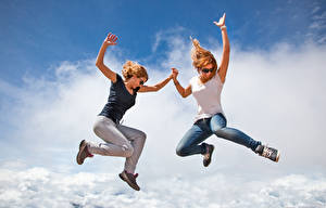 Images Two Redhead girl Jump Jeans Joy Girls