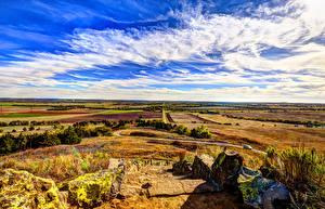 Bilder USA Felder Steine Himmel Wolke Kansas Natur