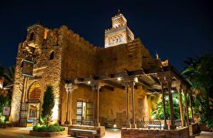 壁纸、、アメリカ合衆国、公園、建物、フロリダ州、デザイン、カフェ、街灯、夜、Disney World Epcot Orlando、都市