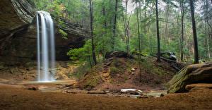 Bilder USA Park Wasserfall Wälder Felsen Hocking Hills Ohio Natur