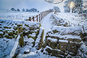 Wallpapers United Kingdom Winter Stones Snow Fence Yorkshire Nature
