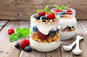Pictures Yogurt Blueberries Raspberry Jar Breakfast Food