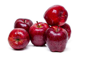Picture Apples Closeup White background Red Drops Food