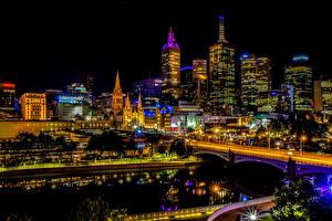 Fondos de escritorio Australia Melbourne Edificio Rascacielos Ríos Puente Tarde Farola