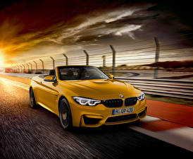 Wallpapers BMW Yellow Convertible At speed Metallic 2018 M4 Cabrio  30 Jahre Edition Worldwide Cars