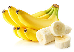 Photo Bananas Closeup White background Food