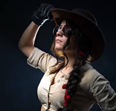 Pictures Black background Brown haired Hat Glove Eyeglasses Braid hair Girls