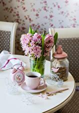 Wallpapers Bouquets Hyacinths Clock Coffee Jar Cup Flowers
