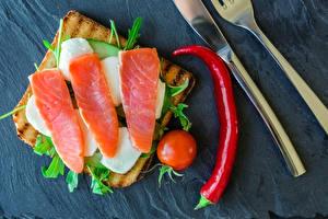 Bilder Brot Fische - Lebensmittel Tomate Butterbrot Chili Pfeffer Lebensmittel