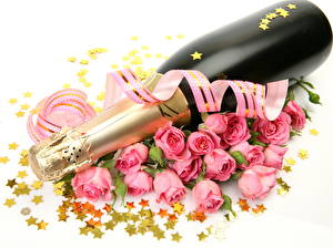 Image Sparkling wine Roses Holidays White background Bottles Star decoration Ribbon flower
