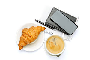 Pictures Coffee Croissant Cappuccino White background Cup Smartphone Ballpoint pen