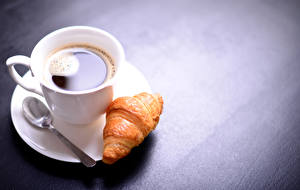 Photo Coffee Croissant Cup Spoon Food