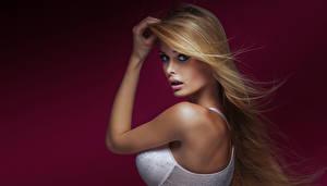 Images Colored background Blonde girl Hands Glance Bra