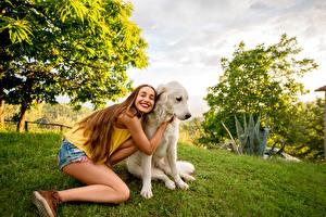 Bilder Hunde Braunhaarige Lächeln Retriever Mädchens