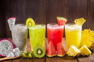 Photo Drinks Fruit Pineapples Watermelons Kiwi Pitaya Juice Highball glass Food