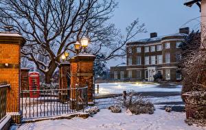 Wallpapers England Houses Evening Winter London Fence Street lights Snow Higham Hill Cities