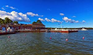 Bilder Finnland Küste Bootssteg Haus Bucht Naantali Städte
