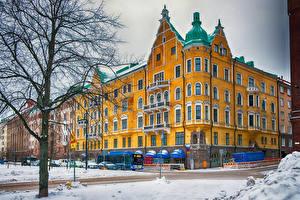 Hintergrundbilder Finnland Helsinki Haus Winter Straße Schnee