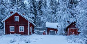 Images Finland Winter Building Snow Isokyla Ostrobothnia Cities