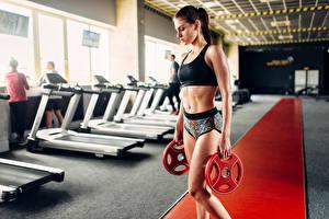 Hintergrundbilder Fitness Braune Haare Bauch Mädchens Sport