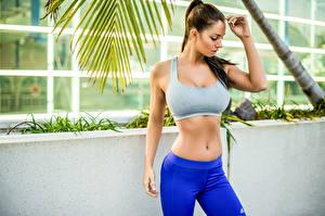 Hintergrundbilder Fitness Braunhaarige Bauch Hand Schön Mädchens Sport