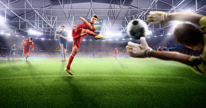 Picture Footbal Man Lawn Hands Ball Stadium