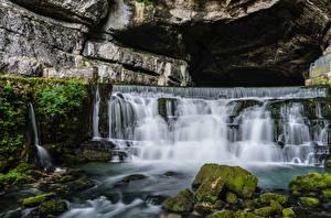 Picture France Waterfalls River Stone Cave Moss Saut du Doubs