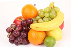 Picture Fruit Grapes Bananas Orange fruit Lemons White background Food