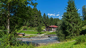 Images Germany River Building Bavaria Spruce Trees Oberstdorf Nature