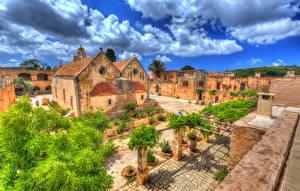 Bilder Griechenland Tempel Kloster Haus HDRI Crete Arkadi Monastery Städte