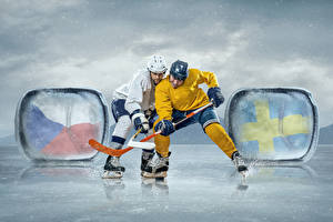 Wallpapers Hockey Men 2 Uniform Ice skate Ice rink sports