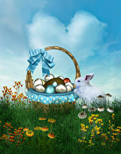 Photo Holidays Easter Rabbits Wicker basket Egg Grass Bowknot