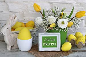 Bilder Feiertage Ostern Tulpen Rosen Lisianthus Kaninchen Ei Deutsch Blumen