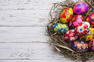 Bilder Feiertage Ostern Bretter Ei Nest Design