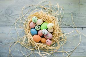 Hintergrundbilder Feiertage Ostern Bretter Nest Eier Lebensmittel